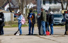 People wait in line at the Gun Buyback event on Friday, April 2, 2021 in Decatur, Ill.