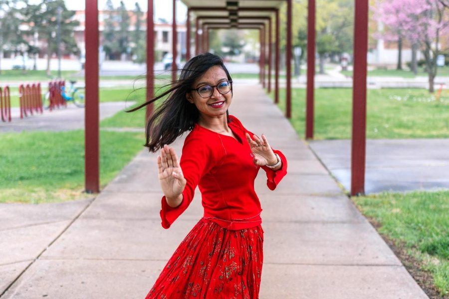 Arunima Aindrila performs a traditional Bangledeshi dance Saturday, April 10, 2021 at SIU. Aindrila submitted two different dances as her entry for the International Festival Talent Show, which was held virtually this year.