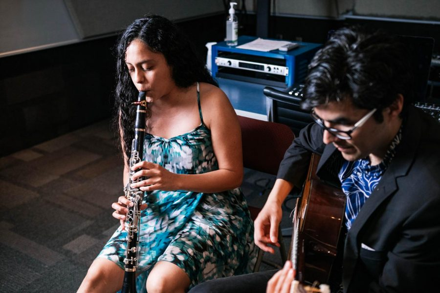 Nico Sánchez-Barberán and Gloria Inés Orozco Dorado play a duet Saturday, April 10, 2021 at SIU. Sánchez-Barberán and Dorado are professional musicians and play duets under the name The Two of Us. The duo has played in Mexico, the United States, and Columbia. Chris Bishop | @quippedmediallc