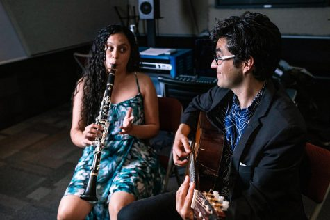 Nico Sánchez-Barberán and Gloria Inés Orozco Dorado play a duet Saturday, April 10, 2021 at SIU. Sánchez-Barberán and Dorado are professional musicians and play duets under the name The Two of Us. The duo has played in Mexico, the United States, and Columbia.