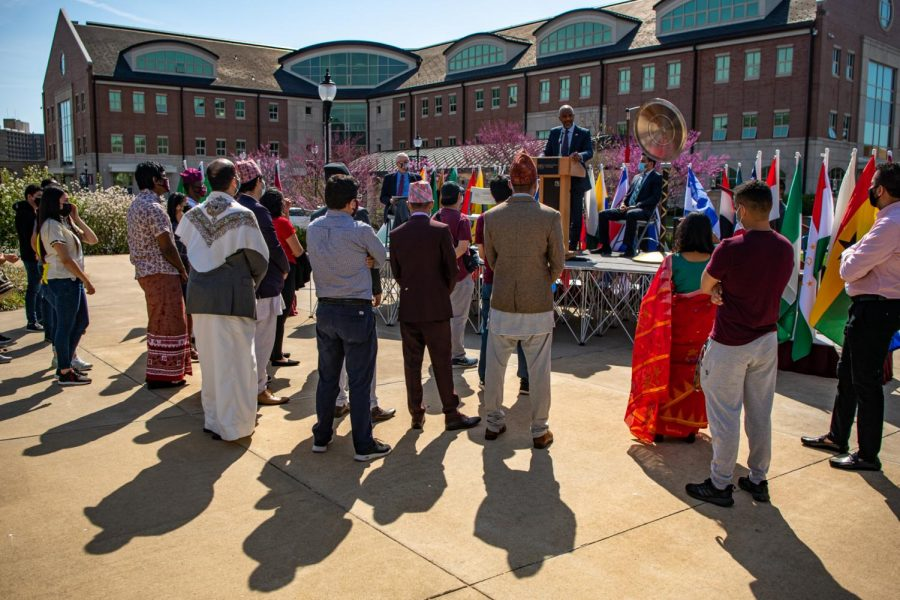SIU Chancellor Austin Lane calls up all the international students to the front for him to personally speak and thank them for their hard work at SIU Monday, April 5, 2021 at Faner Plaza.
