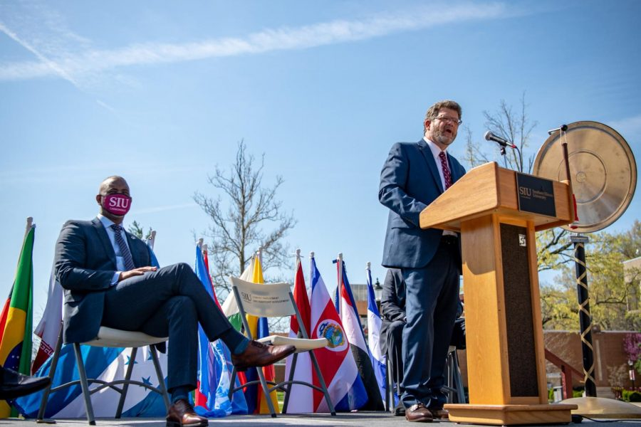 Andrew Carver, Executive Director of International Affairs, gives a speech at the International Festival Proclamation Monday, April 5, 2021 at Faner Plaza at SIU.