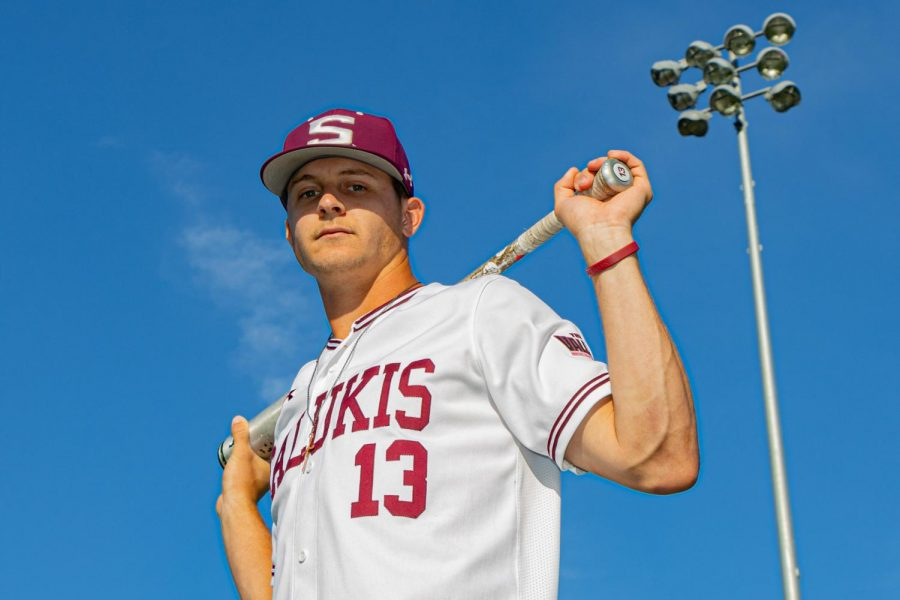 SIU outfielder J.T. Weber poses for a photo on Wednesday, April 14, 2021 at Itchy Jones Stadium at SIU. Weber tied a Salukis' baseball record driving in eight RBIs in a single game, the 8th time for an SIU player to do in the program's history. Weber went 3 for 5, homering twice, including a grand-slam.