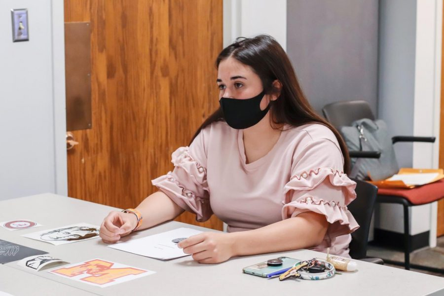 Jackson County CEO student, Ellee Doerr, pitches her business to her banker March 31, 2021, at the SIU Small Business Development Center in Carbondale, Ill. Doerr creates stickers for her business, Sticker Bug.