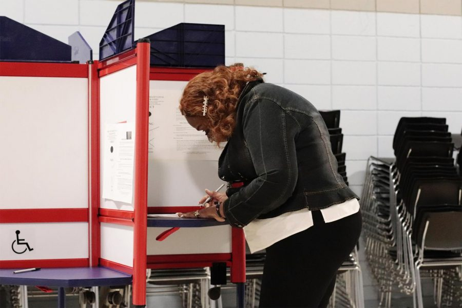 Ginger Rye Sanders, a nominee for city council 2021, casts her vote on April 6, 2021 at the Eurma Hayes Community Center in Carbondale, Ill.