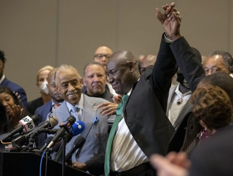 Attorney Ben Crump spoke with the family of George Floyd at a news conference held after the verdict in the murder trial of former Minneapolis police Officer Derek Chauvin, on Tuesday, April 20, 2021, in Minneapolis. (Carlos Gonzalez/Minneapolis Star Tribune/TNS)