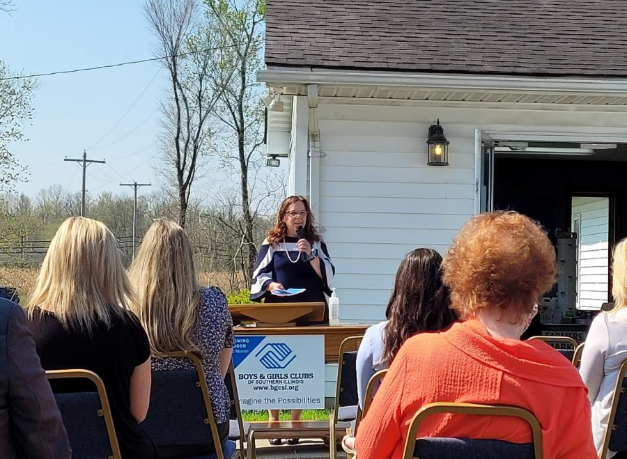 Tina Carpenter, CEO of Boys and Girls Club of Southern Illinois, speaks at a press conference Tuesday, April 6, to unveil a new club center in Marion, Ill.