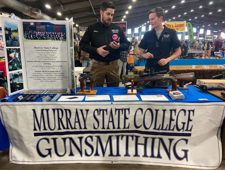 "Brandon Baker and Danton Faulkner represent Murray State College Gunsmithing at the Wanenmacher's Arms Show April 10, 2021 in Tulsa, Okla. ""Murray State College Gunsmithing is all about learning the entire premise of gunsmithing… we have one hundred percent job placement,"" Faulkner said."