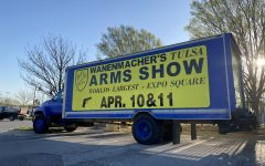 A truck advertises the