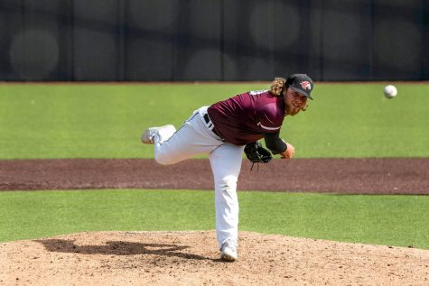 Trey McDaniel (30) pitches the ball in a game against Missouri State University on Saturday, May 1, 2021, at Itchy Jones Stadium in Carbondale Ill. The Salukis took the game after sweeping the sixth inning of the game.
