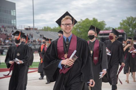 Southern Illinois University held its commencement ceremonies in Saluki Stadium in Carbondale, Ill. May 8.