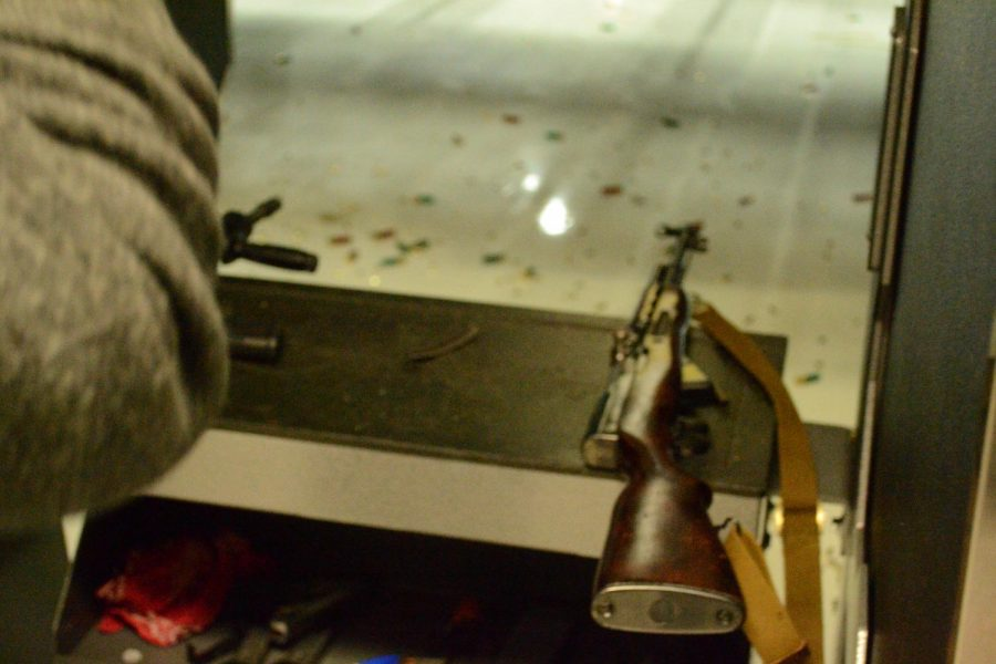 An SKS rifle rests on a podium at a shooting range in the Chicago suburbs.