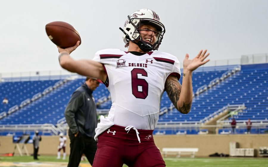 SIU quarterback, Stone Labanowitz (6), warms up before the game against South Dakota State on Sunday, May, 2, 2021 in Brookings, S.D. SIU went on to lose 26-31 against the Jackrabbits.
