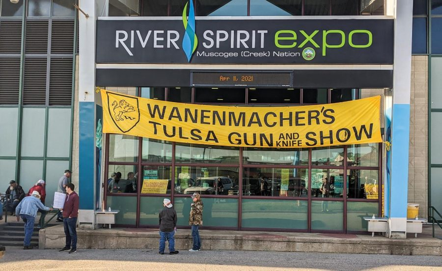 Attendees wait in line at the entrance at Wanenmacher's Tulsa Arms Show on April 10 and 11, 2021, at Expo Square in Tulsa, Okla. The show, which was canceled due to COVID-19 in 2020, welcomed almost 25,000 attendees from all over the nation this year.
