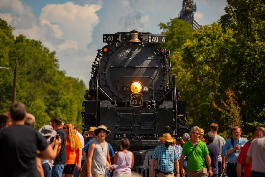 Hundreds of spectators get up close with Big Boy No. 4014 makes a stop in Chester. The steam  locomotives were built in the early 1940s  on Saturday, Aug. 28, 2021 in Illinois.