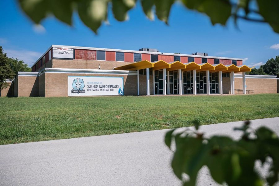 Exterior of the Justin Dentmon Athletic Center Aug. 23, 2021 in Carbondale, Ill. The Dentmon Center was formally the building for Carbondale Community High School.