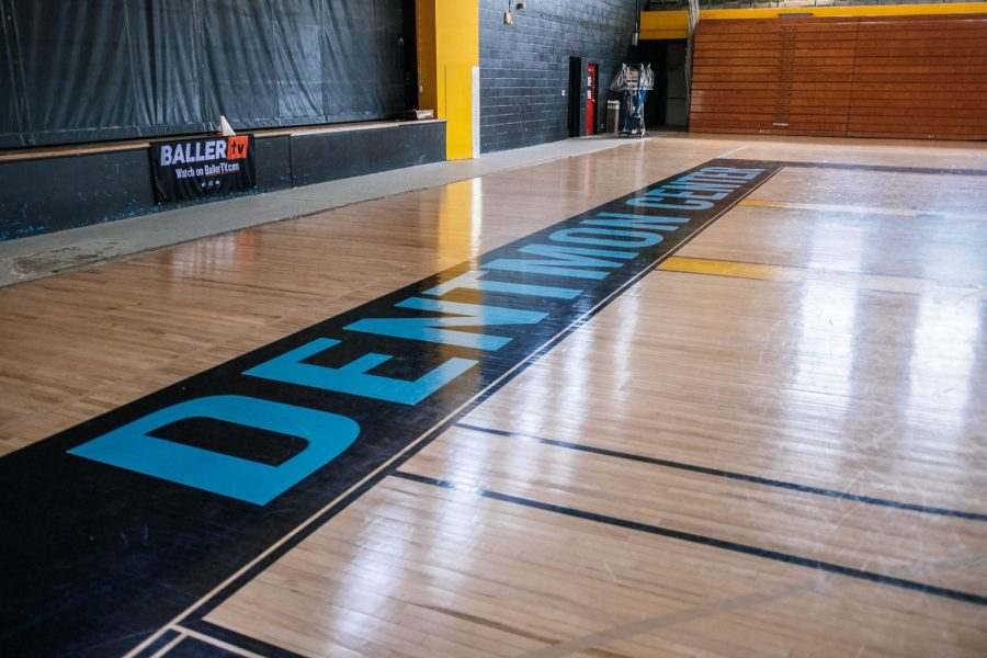 Newly installed basketball court at the Dentmon Center Aug. 23, 2021 in Carbondale, Ill.
