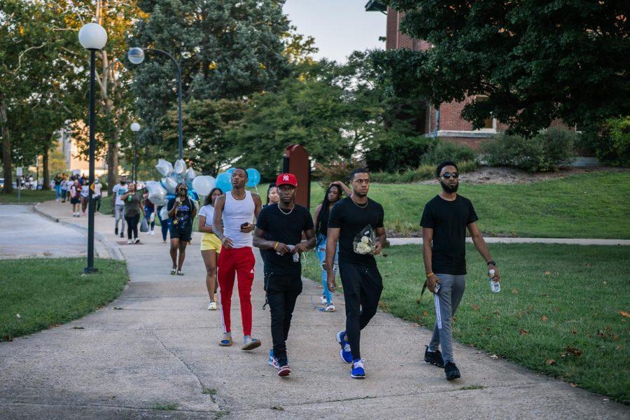 SIU community members arrive at vigil for Shanna Jackson Aug. 22, 2021.