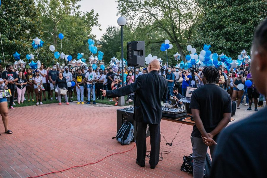 Father Brown gives words of encouragement to the SIU community at Keshanna Shanna Jacksons vigil Aug. 22, 2021 at Davies Hall.