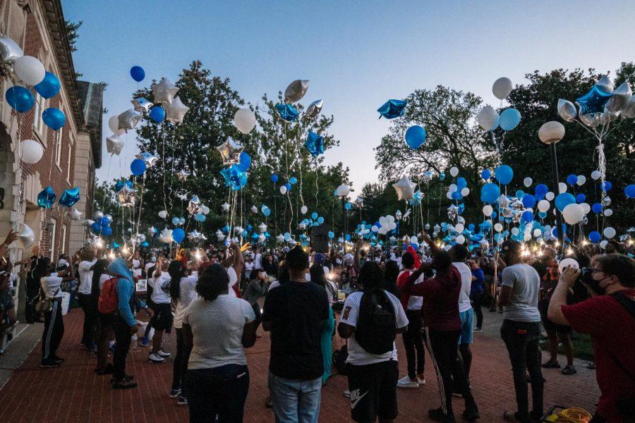 Southern Illinois University community release balloons in memory of Keshana Shanna Jackson Aug. 22, 2021 at Davies Hall.