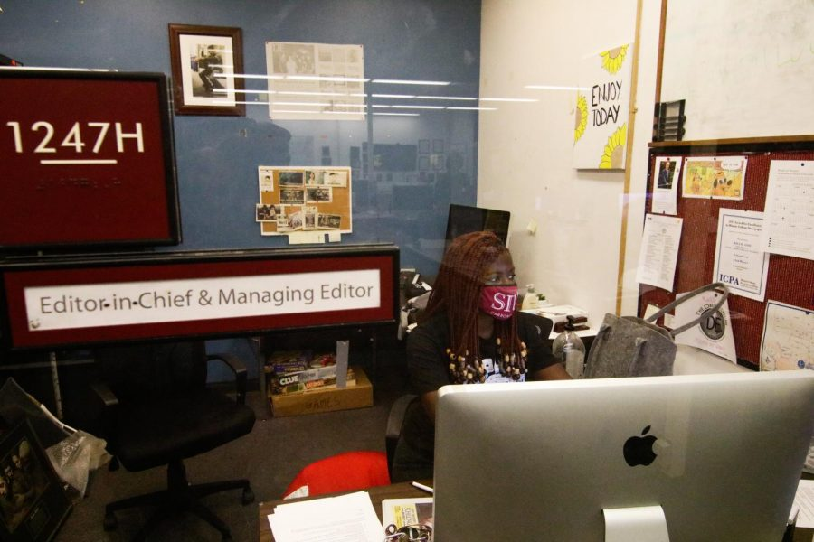 Oreoluwa Ojewuyi, the Editor in Chief for The Daily Egyptian Aug. 16, 2021 at The Daily Egyptian newsroom.
