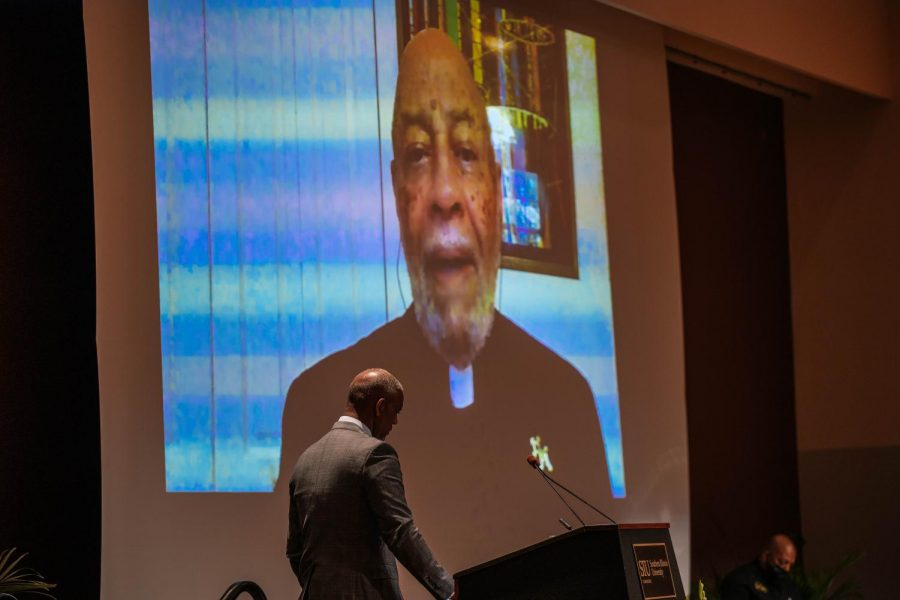 Father Joseph Brown joins virtually to speak at Keeshanna Jacksons memorial Aug. 25, 2021.