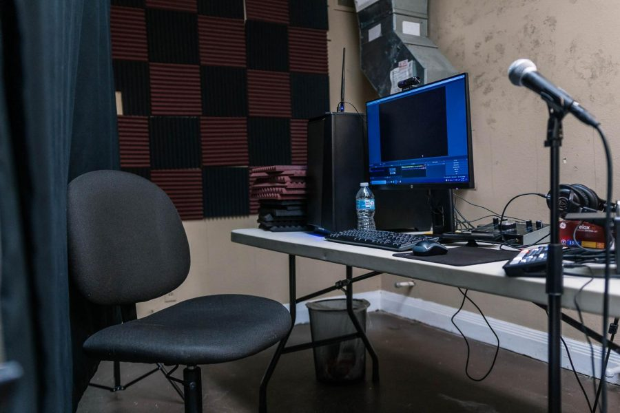 The Artists Loft sits empty at the Varsity Aug. 27, 2021 in Carbondale, Ill. The Artists Loft is to be a recording studio for anybody who wants to help us maintain relevant stock of shareable media, while also producing stuff that they want to take and carry with them. Nathan Colombo said.