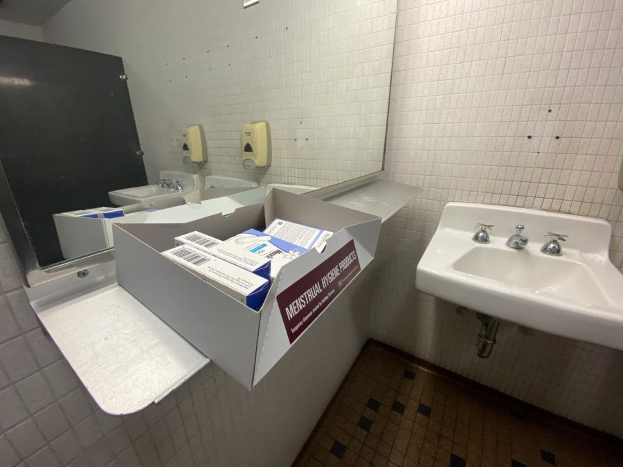 Menstrual hygiene products sit in the womens restroom Sept. 26, 2021 at SIU in Carbondale, Ill.