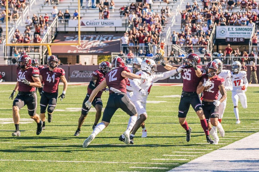 Izaiah Hartrup, wide receiver, runs the ball for a kickoff return in a game against Illinois State University Saturday, Sept. 25, 2021 at Saluki Stadium in Carbondale, Ill. After being down in the first half of the game, the Salukis came back to defeat the Redbirds 35-17.