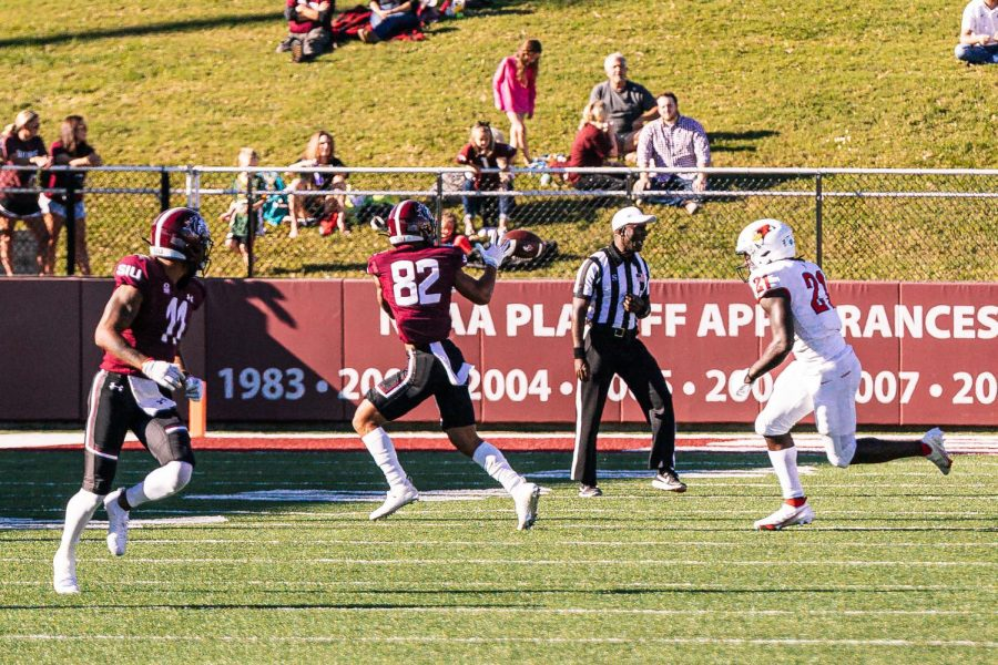 Izaiah Hartrup, wide receiver, catches a pass Saturday, Sept. 25, 2021 at Saluki Stadium in Carbondale, Ill.