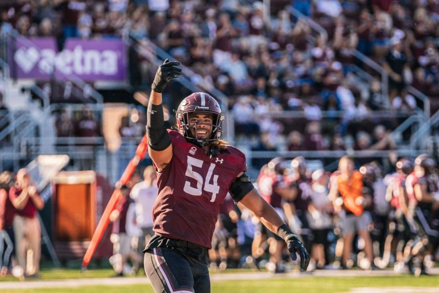 Bryce Notree, linebacker, celebrates after SIU intercepts a pass by Illinois State University Saturday, Sept. 25, 2021 at Saluki Stadium in Carbondale, Ill.