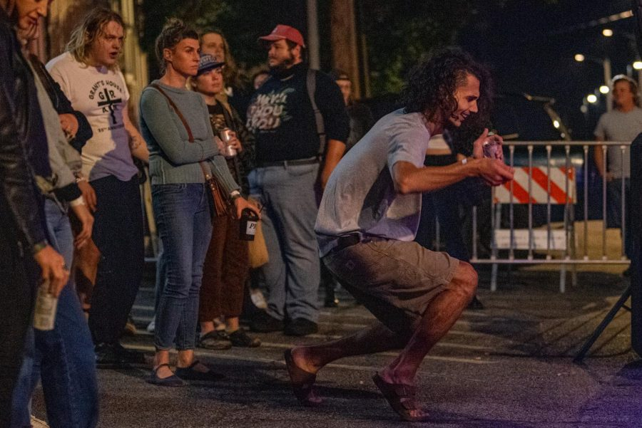 Mahdi Shafiei dances during the Topomaka performance during the Lost Cross 35th anniversary event. Enjoying the life, said Shefiei while he was at performance on Friday, Sept. 24, 2021 at Hanger 9 in Carbondale, Illinois.