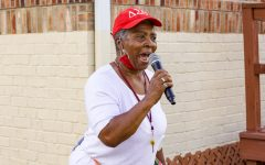 Vice President of the Women for Change organization, Deborah Woods, speaks during the introduction of the Women for Change march Sept. 18, 2021 in Carbondale, Ill.