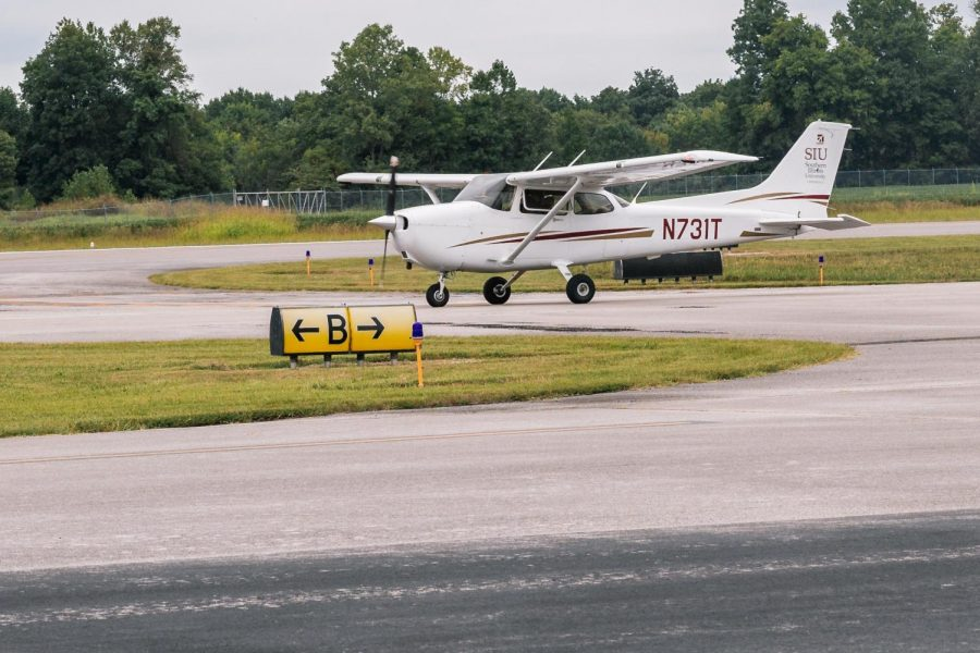 A plane prepares to takeoff Sept. 3, 2021 at SIU Automotive Technology in Murphysboro, Ill.