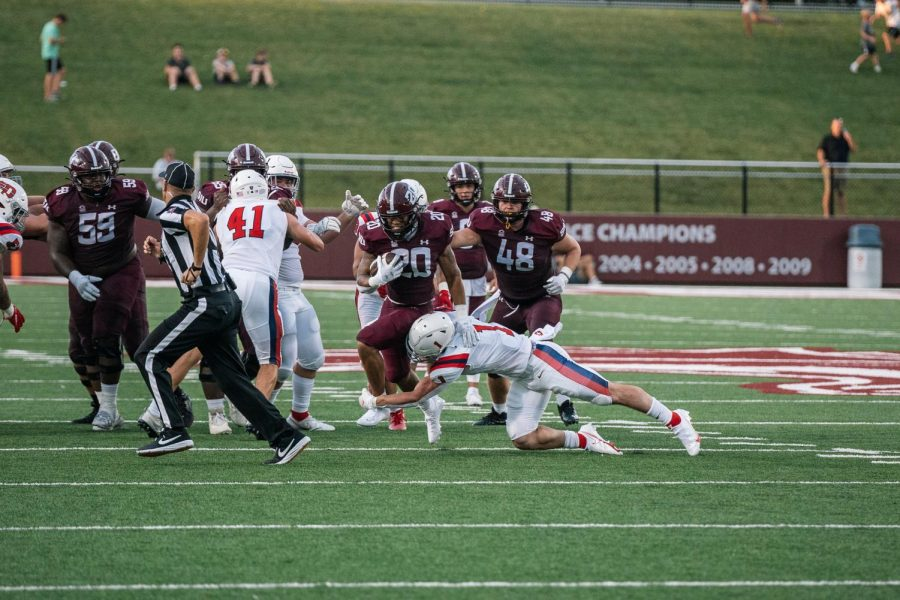 Donnavan Spencer, running back, rushes towards the end zone in a game against The University of Dayton Sept. 18, 2021 at Saluki Stadium in Carbondale, Ill.