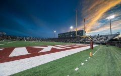 Saluki Stadium sits beneath the sunset Sept. 18, 2021 in Carbondale, Ill. The Salukis played their first home game of the season against the Dayton Flyers.