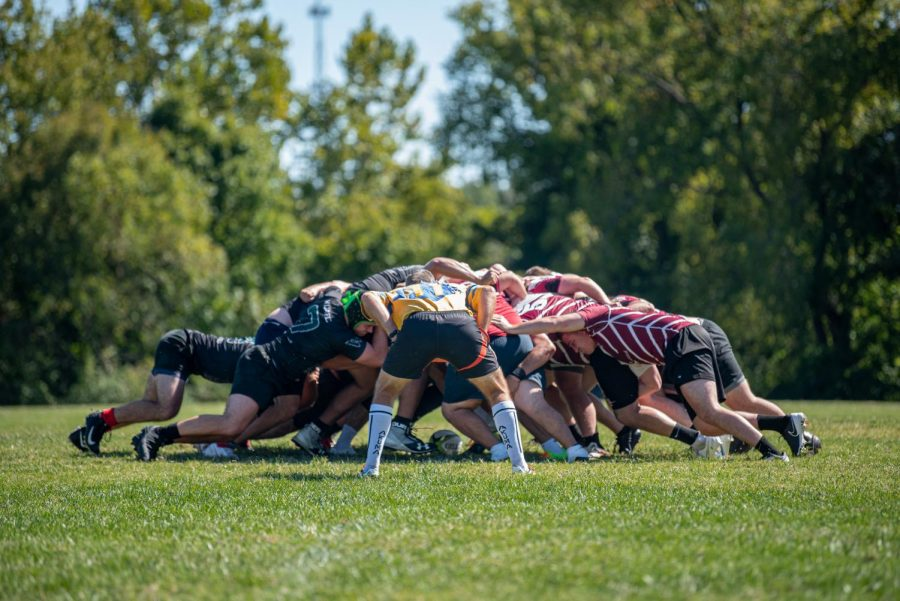 Both teams scrum for the ball during the match against Washington University on Saturday, Sept. 25, 2021 at SIU.