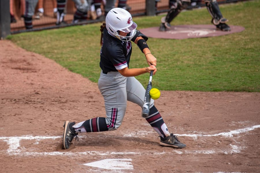SIU catcher/infielder, Sidney Sikes, makes contact with the ball for a hit during the second game of the doubleheader vs. Three River Community College. The Salukis would win both games on Sunday, Sept. 19, 2021 at the Charlotte West Stadium in Carbondale, Illinois.