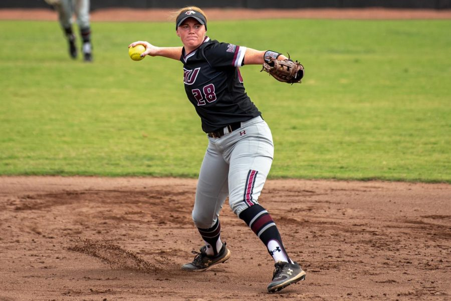 SIU infielder/outfielder, Jenny Jansen, scopes up the grounder and throws over to first for the out during the second game of the doubleheader vs. Three River Community College. The Salukis would win both games on Sunday, Sept. 19, 2021 at the Charlotte West Stadium in Carbondale, Illinois.