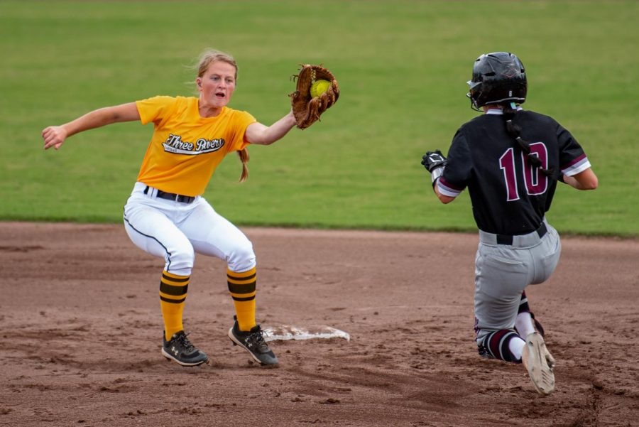 SIU outfielder, Emma Austin, goes for the steal attempt, but would later be called out during the second game of the doubleheader vs. Three River Community College. The Salukis would win both games on Sunday, Sept. 19, 2021 at the Charlotte West Stadium in Carbondale, Illinois.
