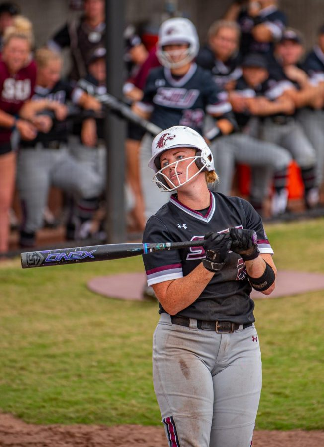 SIU infielder/outfielder, Jenny Jansen, looks back during an at bat during the second game of the doubleheader vs. Three River Community College. The Salukis would win both games on Sunday, Sept. 19, 2021 at the Charlotte West Stadium in Carbondale, Illinois.
