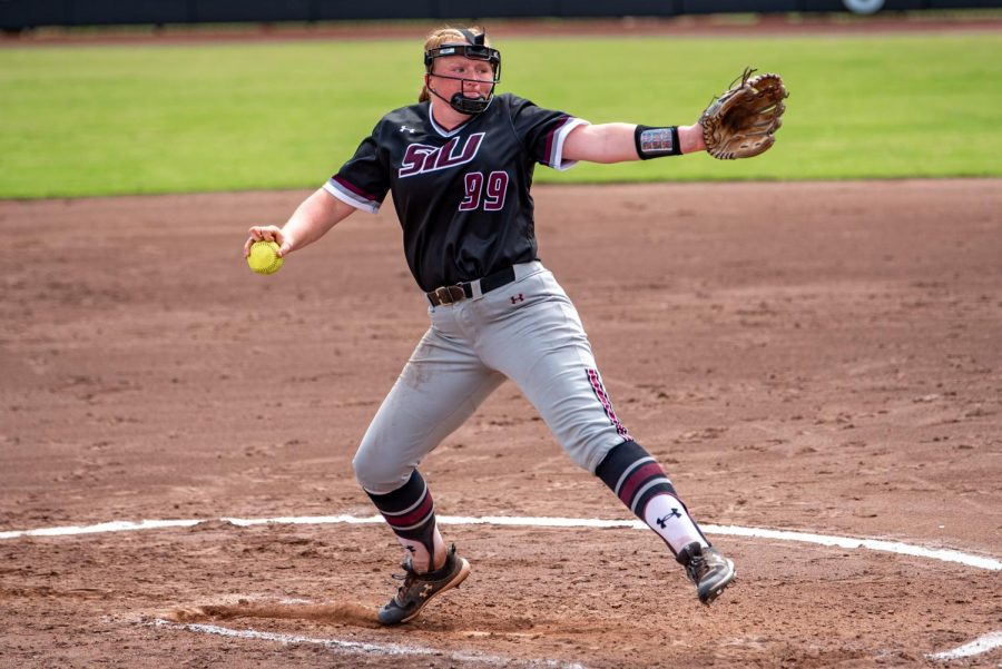 SIU starting pitcher, Alexis Rudd, pitches during the second game of the doubleheader vs. Three River Community College. The Salukis would win both games on Sunday, Sept. 19, 2021 at the Charlotte West Stadium in Carbondale, Illinois.