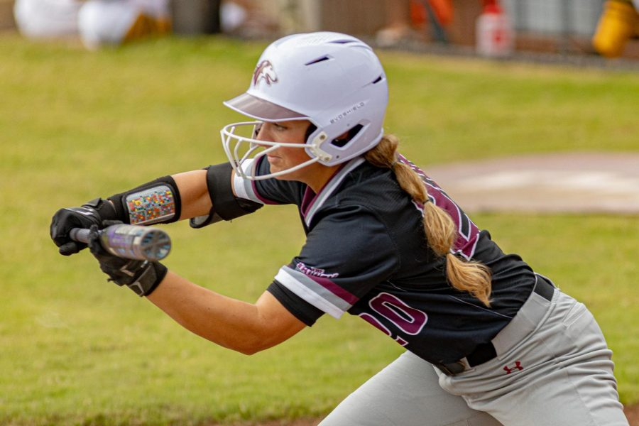 SIU outfielder, Bailey Caylor, squares up for the bunt attempt during the first game of the doubleheader vs. Three River Community College. The Salukis would win both games on Sunday, Sept. 19, 2021 at the Charlotte West Stadium in Carbondale, Illinois.