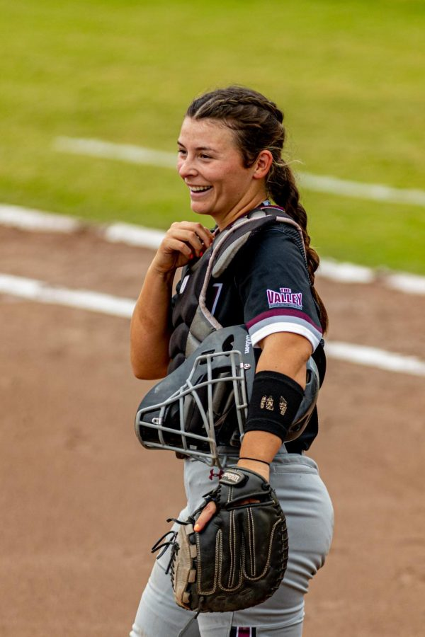 SIU catcher/infielder, Sidney Sikes, smiles after a throw out attempt. The throw out attempt would go in the Raiders favor and runner would be called safe at second during the first game of the doubleheader vs. Three River Community College. The Salukis would win both games on Sunday, Sept. 19, 2021 at the Charlotte West Stadium in Carbondale, Illinois.