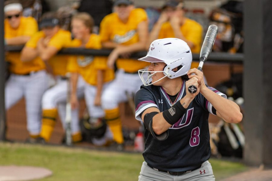 SIU outfielder, Elizabeth Warwick, gets into the batters box during the second game of the doubleheader vs. Three River Community College. The Salukis would win both games on Sunday, Sept. 19, 2021 at the Charlotte West Stadium in Carbondale, Illinois.