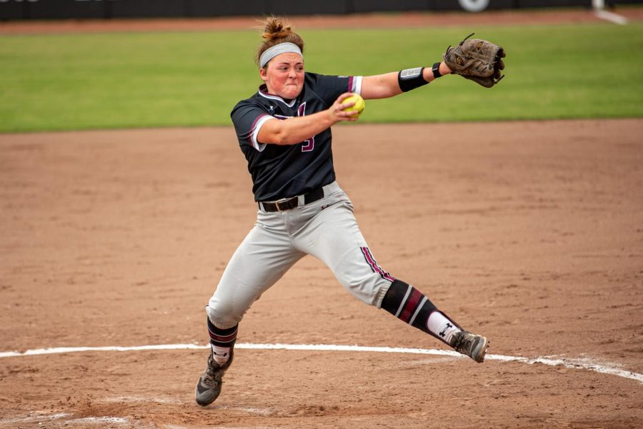 SIU pitcher, Madi Eberle, whines up for the pitch during the first game of the doubleheader vs. Three River Community College. The Salukis would win both games on Sunday, Sept. 19, 2021 at the Charlotte West Stadium in Carbondale, Illinois.