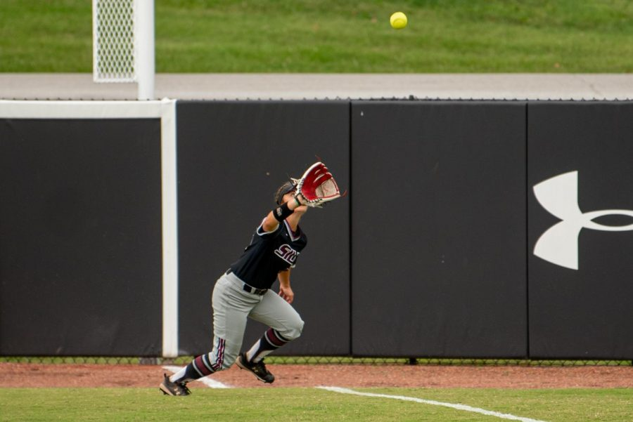 SIU outfielder Bailey Caylor goes for the foul ball for the out  during the first game of the doubleheader vs. Three River Community College. The Salukis would win both games on Sunday, Sept. 19, 2021 at the Charlotte West Stadium in Carbondale, Illinois.