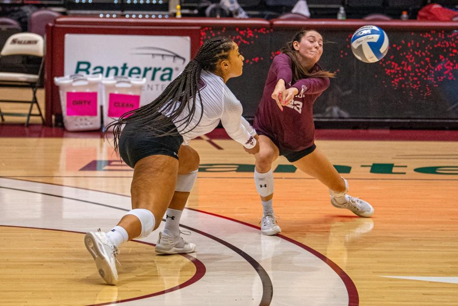 Alex Washington, left, and Katy Kluge, right, both go for the ball on a play vs. EIU. SIU would later on drop their early 2-0 lead and fall to EIU 3-2 on Friday, Sept. 10, 2021 during the Saluki Invitational at the Banterra Center at SIU.