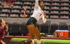 Nsia Gittens goes up for the spike vs. EIU. SIU would later on drop their early 2-0 lead and fall to EIU 3-2  on Friday, Sept. 10, 2021 during the Saluki Invitational at the Banterra Center at SIU.