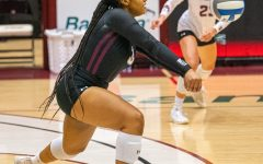 Alex Washington bumps the ball in order to set up the offense during the drive during the Salukis 3-0 win over the University of South Carolina - Upstate on Friday, Sept. 10, 2021 during the Saluki Invitational at the Banterra Center at SIU.